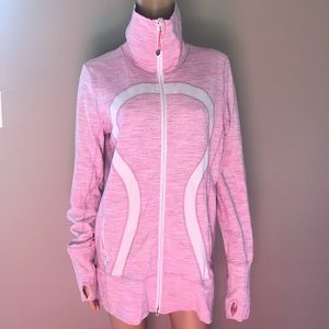 Lululemon in Stride jacket pink white Sz 12
